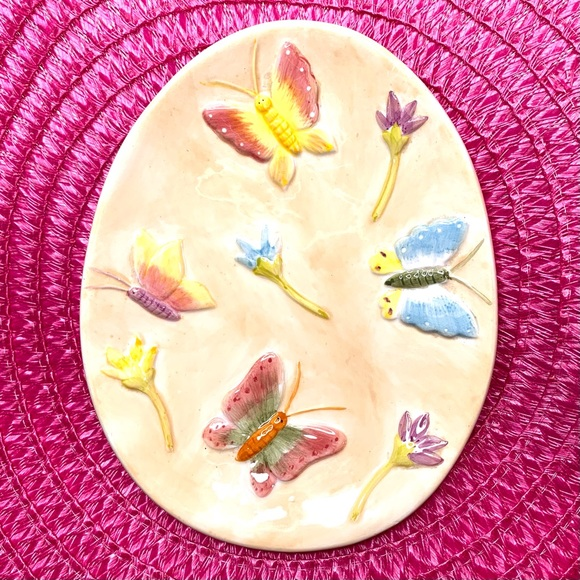 Vintage Hand Painted Butterfly Egg Dish